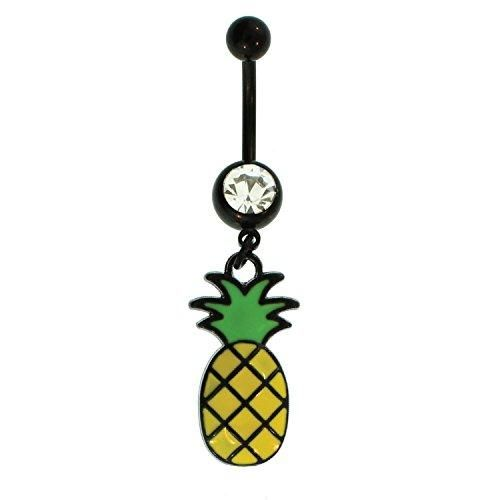 BodyJ4You Belly Button Ring Pineapple Navel Black Stainless Steel 14G Body Piercing Jewelry