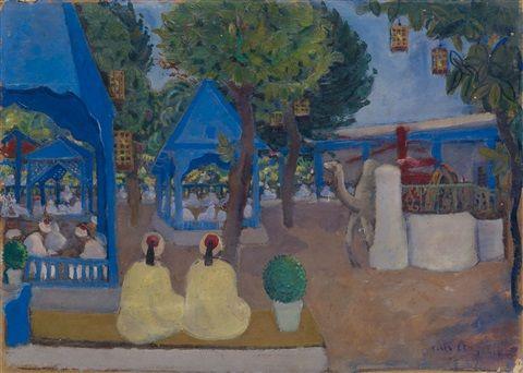 Moses Levy (Tunisi 1885– Viareggio1968) Title: Café Oriental (Saf-Saf) , 1926 Medium: oil on cardboard Size: 45 x 61.5 cm. (17.7 x 24.2 in.)