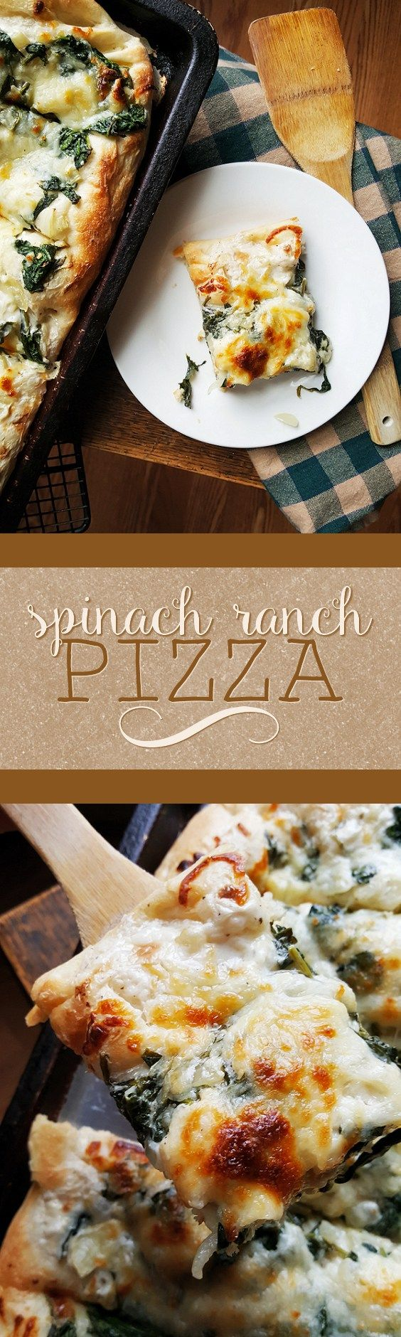{Healthy, Vegan- and GF-adaptable} This spinach ranch pizza is one of my foolproof, go-to meals-- easy to make, it's a delicious hit that the whole family will love!