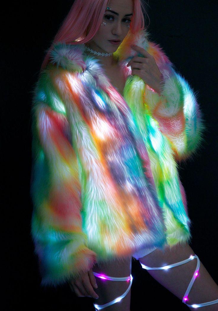 J Valentine Rainbow Flashing Lights Midi Jacket