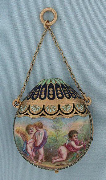 antique gold enamel pocket watch w/chatelaine chain