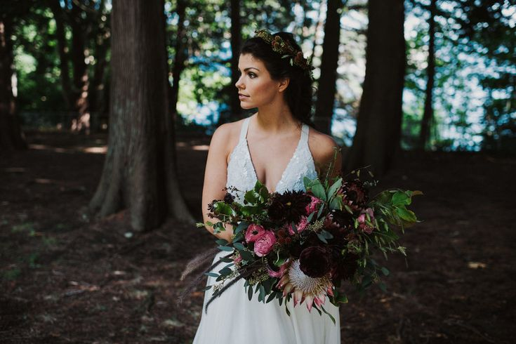 Bohemian bouquet and bride for vancouver wedding by Floral design by Lili