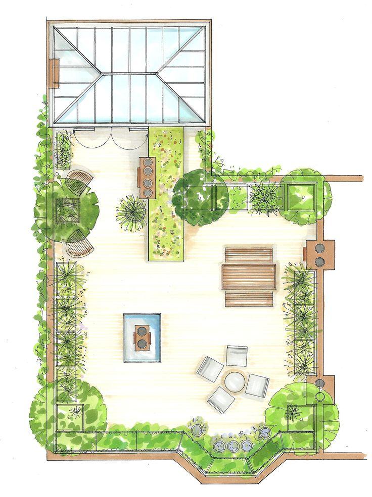 Elegant roof terrace design with planting along edges for better load  bearing.