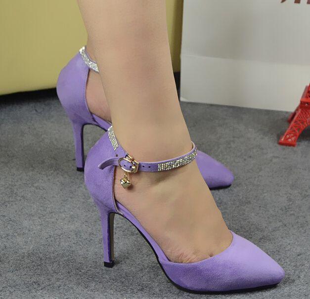 Туфли на высоком каблуке w - бесплатная доставка новый 2015 корейских моде свадебные туфли женщины мода горный хрусталь высокие каблуки девушки сексуальное острым носом фиолетовый синий
