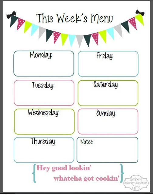 The 25+ best Weekly menu printable ideas on Pinterest Weekly - menu printable template