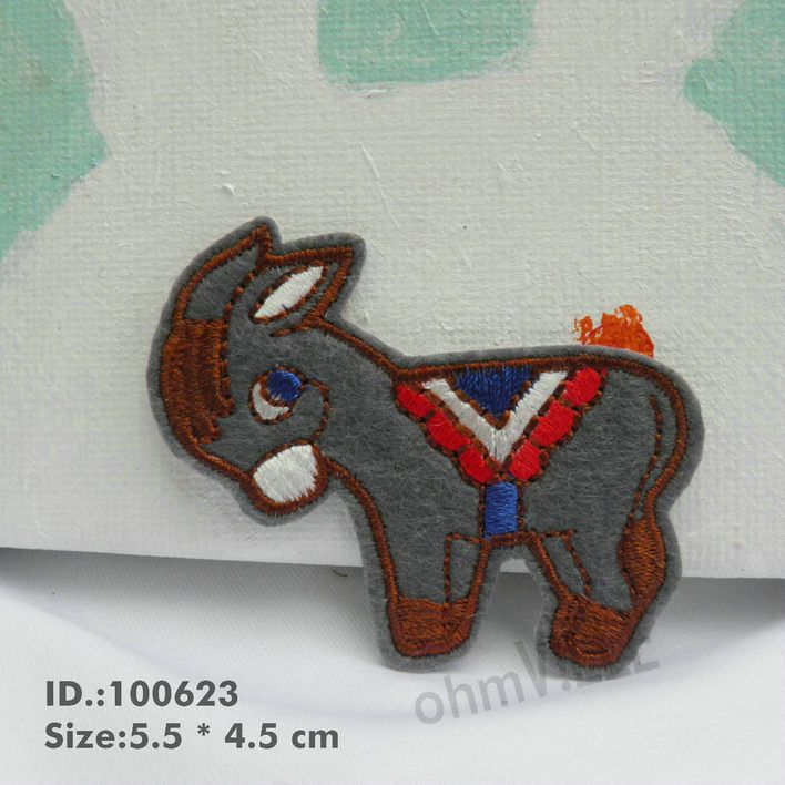 "100623 Donkey Iron-On Applique  ""Easy To Apply, Just Iron-On"" Guaranteed 100% Quality Patches"