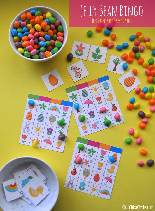 Jelly Bean Bingo printable for Easter -- 27 Fun Easter Games for Kids #easter