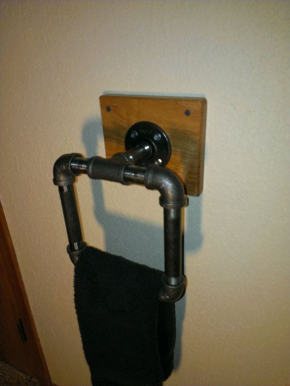 Steampunk Industrial Hand Towel Holder with Solid by TimberChuck, $79.00