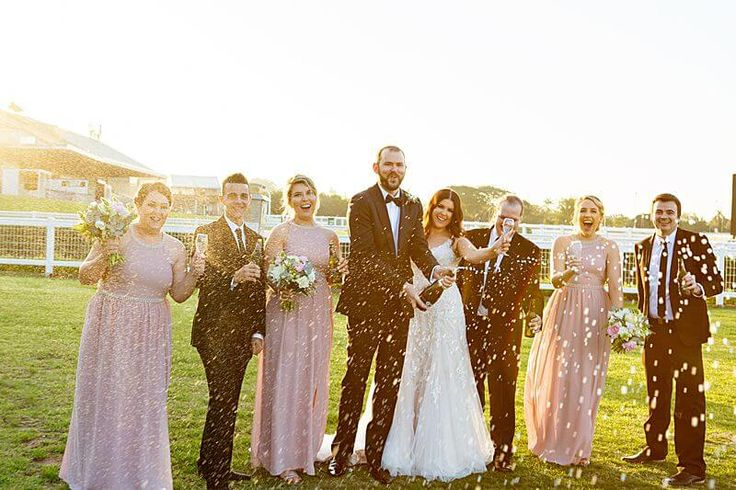 Eagle Farm Racecourse - Bridal Party Champagne Celebration | G&M Event Group #WeddingDJ #BrisbaneWedding #BrisbaneRacingClub #FunWedding #pink #Bridesmaids