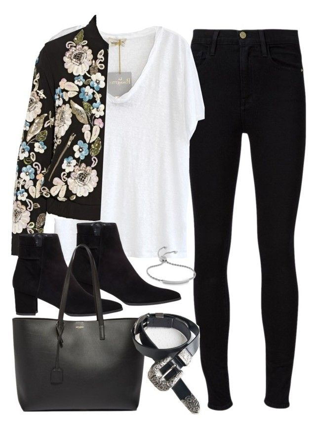"""""""Outfit with a bomber jacket"""" by ferned on Polyvore featuring Frame Denim, American Vintage, Stuart Weitzman, Needle & Thread, Yves Saint Laurent and Monica Vinader"""