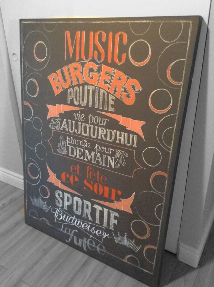 Hand-painted chalkboard by ALB.