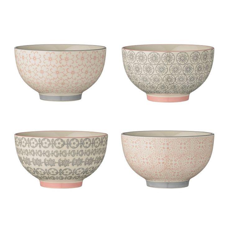 bloomingville ccile bowls rosegrey cm set of 4 - Set De Table Scandinave