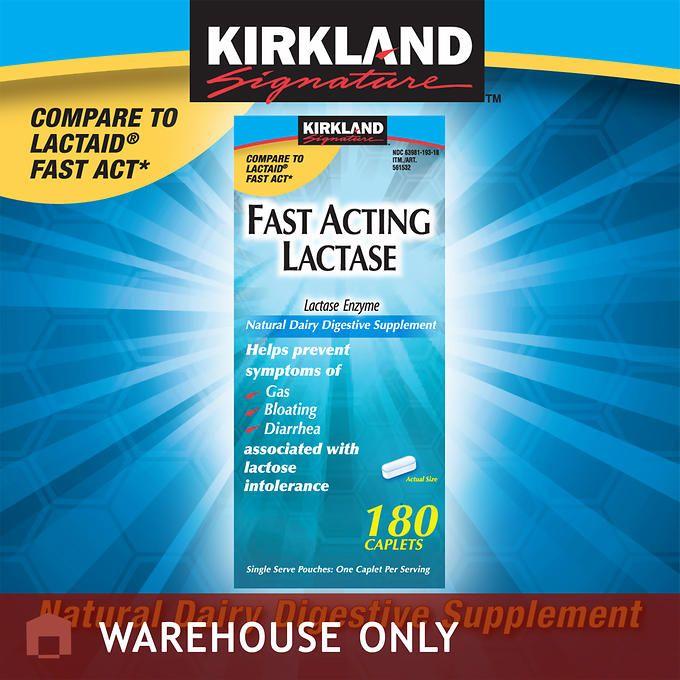 Kirkland Signature™ Fast Acting Lactase, 180 Caplets.