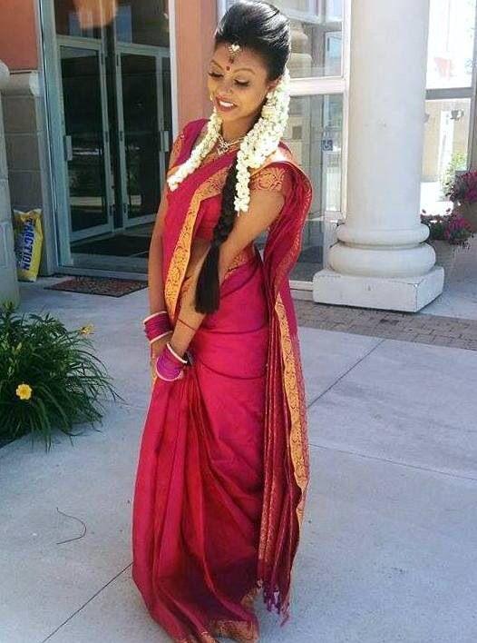 Cute wedding bride/bridesmaids hairstyle for Tamil Hindu Weddings | Indian bridal wedding ...