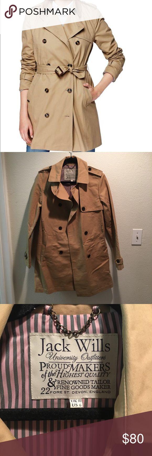 Jack Wills Trench Coat Jack Wills Trench Coat, perfect condition, prestigious brand from U.K. Size US 6 Jack Wills Jackets & Coats Trench Coats