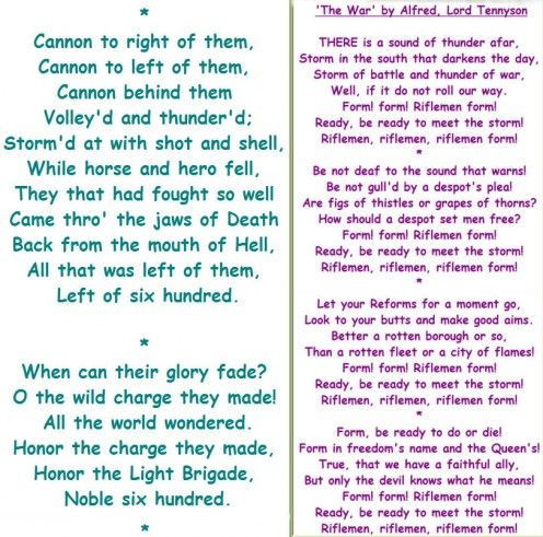 charge of the light brigade poem essay The charge of the light brigade analysis essay - 398 while reading this poem, it's important to know that at the time, the british were fighting the russian.