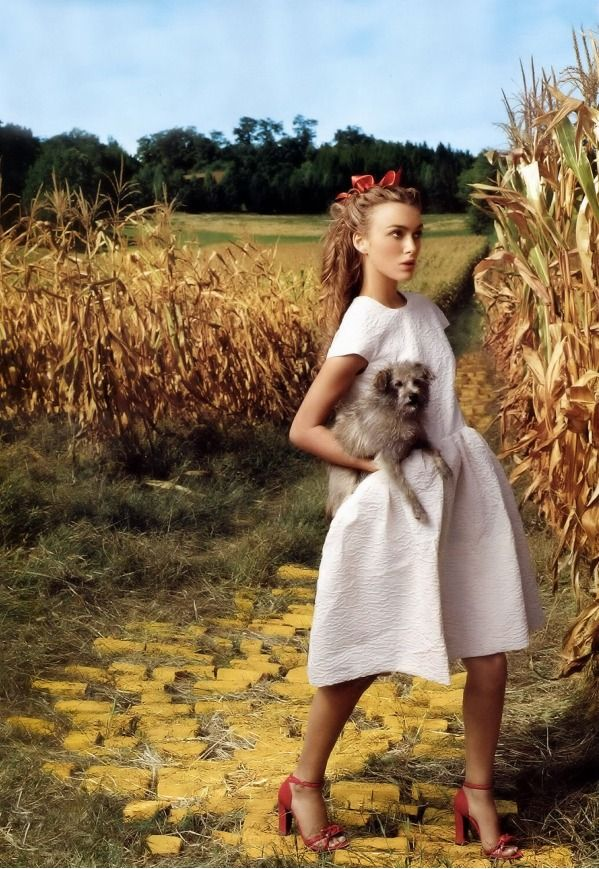 No Place Like Home - Kiera Knightley looks amazing here as Dorothy from the Wizard of Oz. Check out the golden bricks and red high heels.