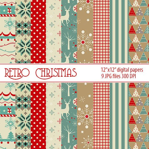 Christmas Retro digital paper Christmas printable paper by DigiPPP