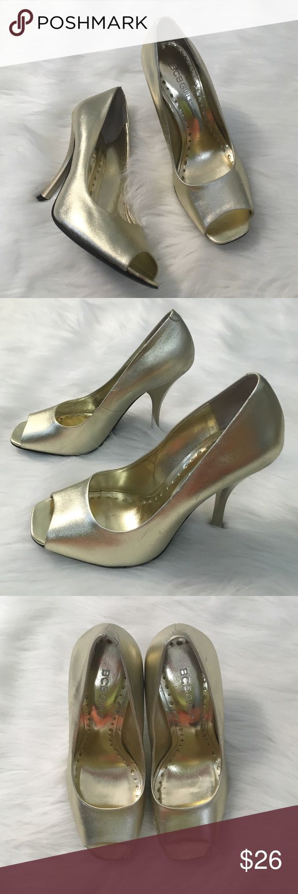 BCBGirls Gold Peep Toe Heels Heels: GUC - BCBGirls / GUC minor wear and minimal scuffs BCBGirls Shoes Heels