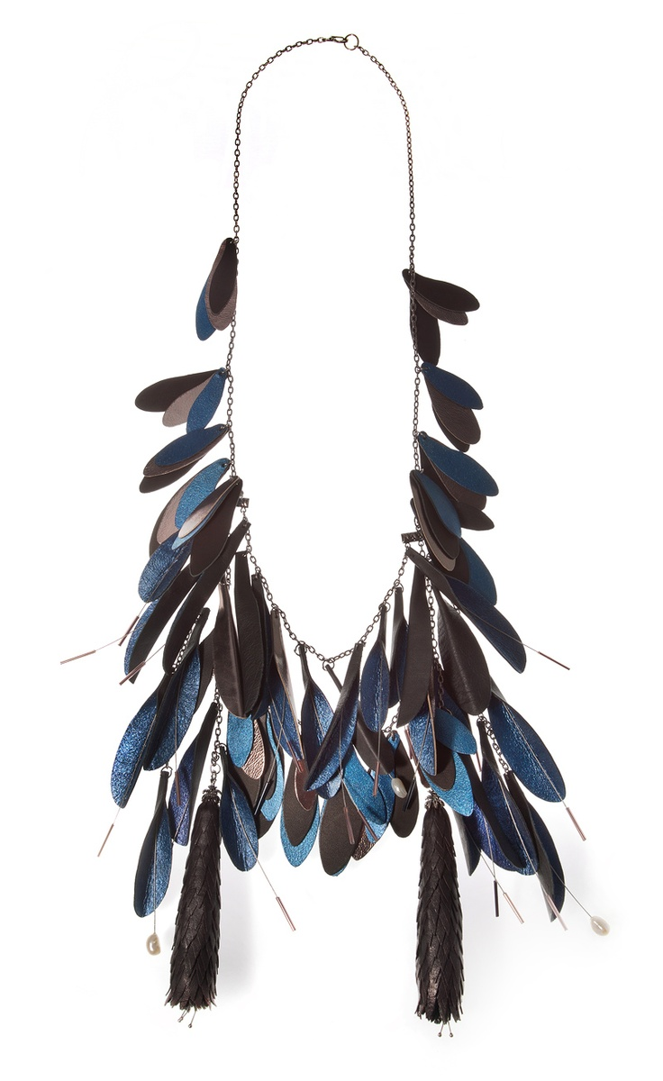 Cornelia Brustureanu - Romanian jewelry Designer  Tassels Leather Necklace  Made of: black, silver, turquoise and blue leather, white cultured pearls and pink glass beads.
