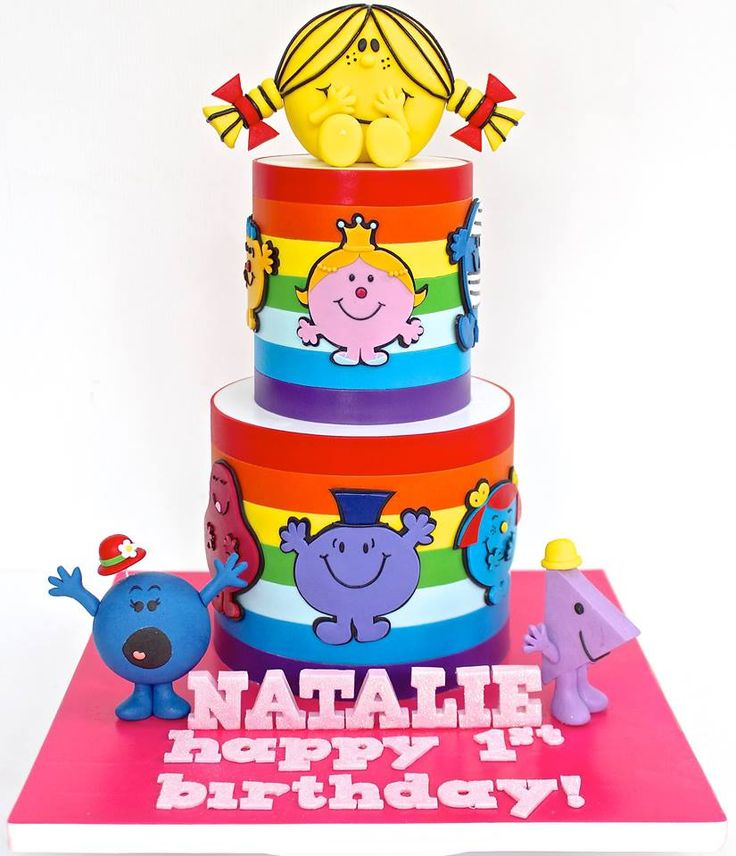 Mr Men and Little Miss cake by Celebrate with Cake - For all your cake decorating supplies, please visit http://www.craftcompany.co.uk/