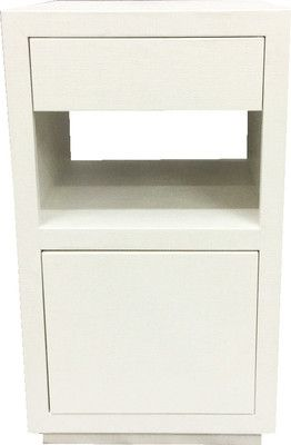 Lacquered Off White Linen Wrapped Upper Drawers And Lower Touch Latch  Storage