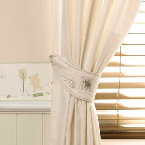 Organic cream cotton curtains part of the hug me bear for Bedroom curtains and bedding