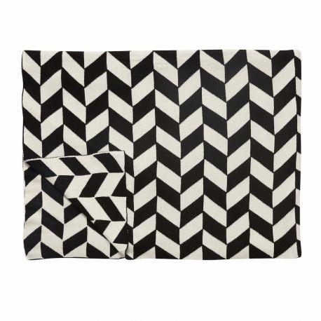 Plaid en coton naturel avec imprimés graphiques noirs Hubsch - Décoration intérieure design scandinave Frenchrosa