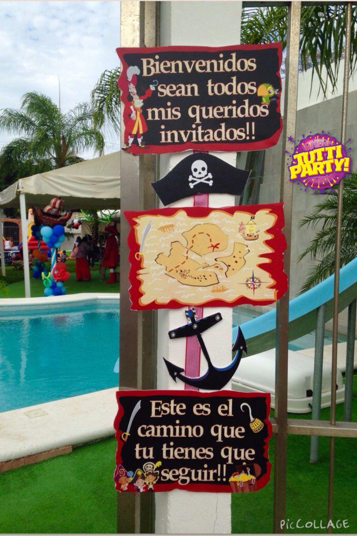 Piratea Party ideas, pirates welcome banner jake y los piratas banner de bienvenida, hook Party ideas,  capitán garfio Facebool Tuttiparty