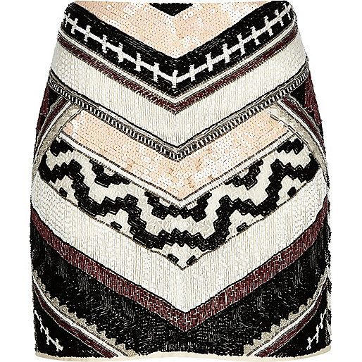 White chevron print beaded mini skirt