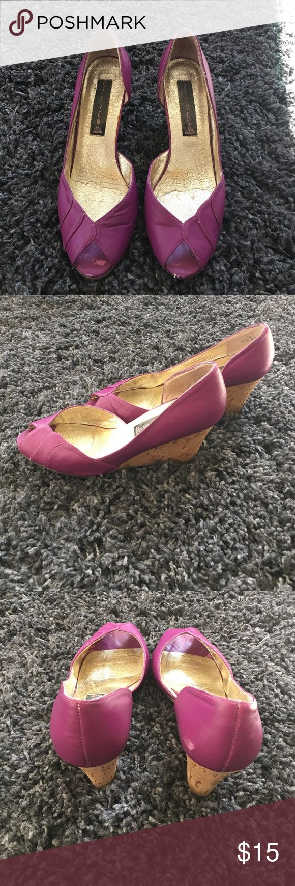 Steven by Steve Madden Wedges | sz 6.5 Lovingly worn but so comfortably with lots of life left - these beautiful purple wedges always get compliments. They have scuffs and are not new condition which is the reason for the low price. Steven by Steve Madden Shoes Wedges