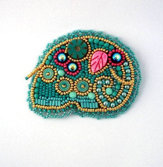 Turquoise elephant brooch Elephant brooch Beaded brooch by ibics
