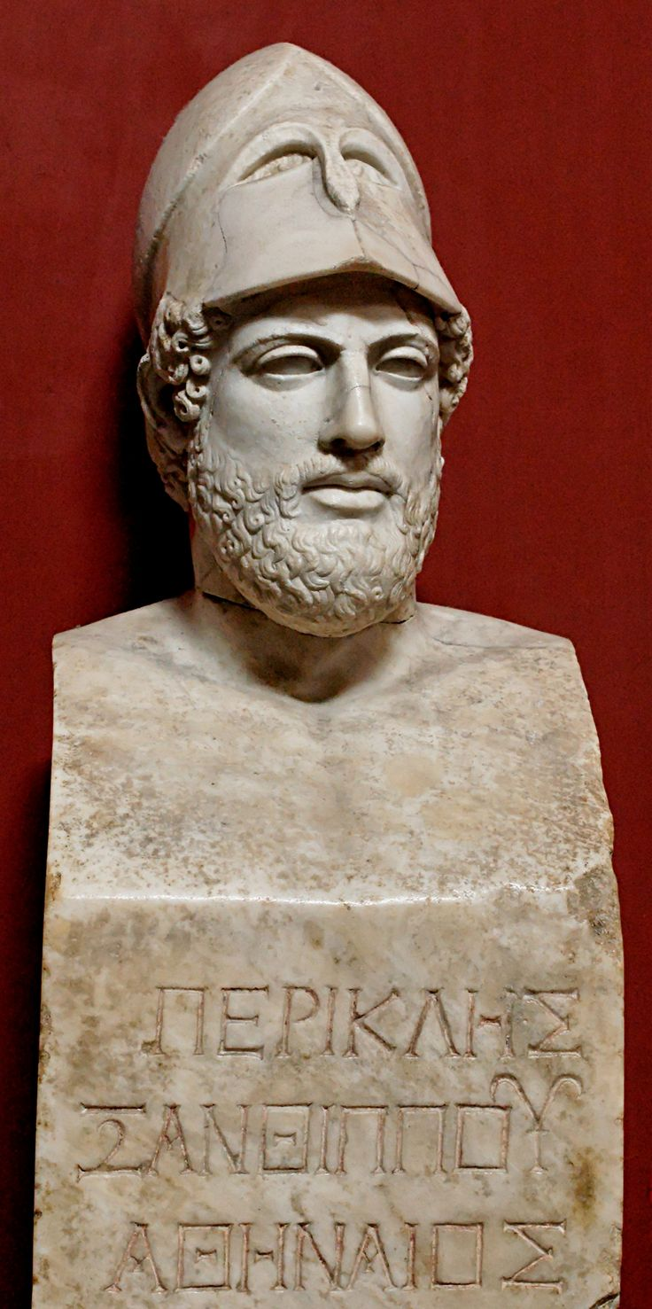 "Bust of Pericles bearing the inscription ""Pericles, son of Xanthippus, Athenian"". Marble, Roman copy after a Greek original from ca. 430 BC"