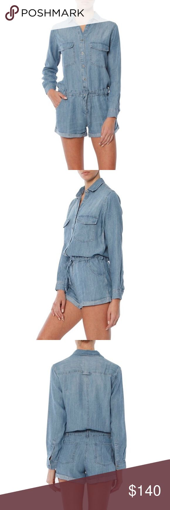 RAILS Johnny Utility Romper Styled for work but meant for play, this ultrasoft and breezy romper is laid-back, slouchy and ready for warm weather thanks to casually cuffed shorts. -Front button closure; ties at waist -Spread collar -Long sleeves with single-button cuffs -Front slant pockets; back patch pockets -Belt loops -70% Tencel® lyocell, 30% linen -Machine wash, tumble dry Rails Pants Jumpsuits & Rompers