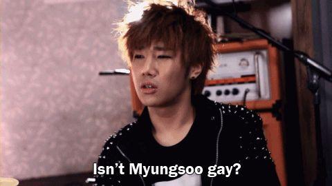 Infinite parodying Shut Up Flower Boy Band hahahaha L's face