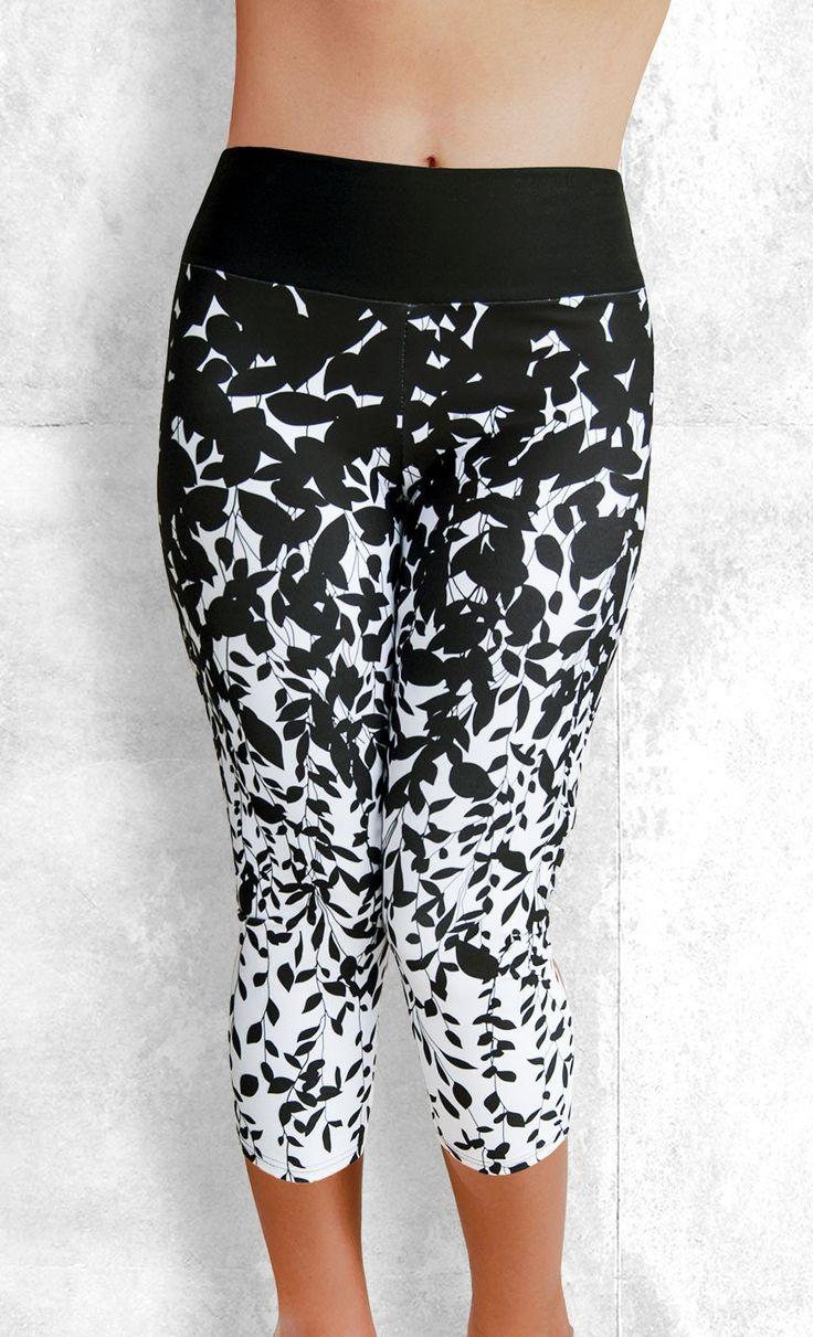 Capri Leggings - Black Leaves on White - Funtastic Activewear