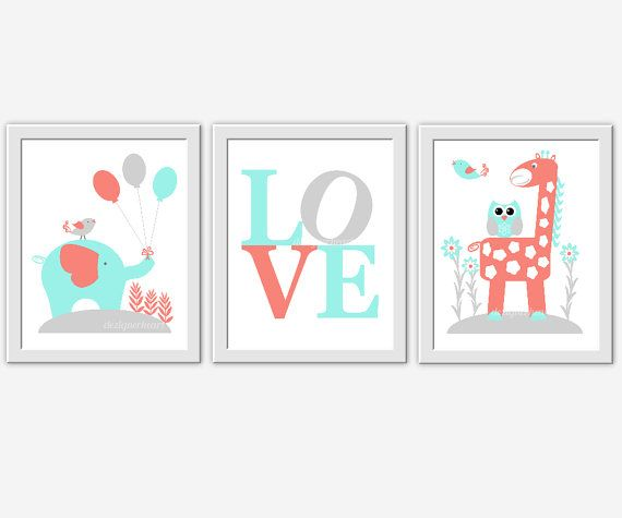 CORAL Baby Nursery Wall Art Coral Aqua Gray Elephant Giraffe Jungle Safari Love Owl Baby Nursery Decor Prints Baby Boy Baby Girl3 PRINT SET