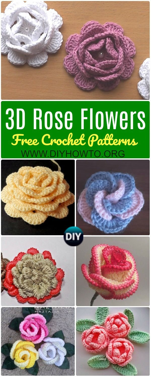 Collection of Crochet 3D Rose Flowers Free Patterns: Easy Crochet Rose, Single Stripe Rose, Layered Rose, Interlocking Ring Rose, Puffy or Popcorn Rose via @diyhowto