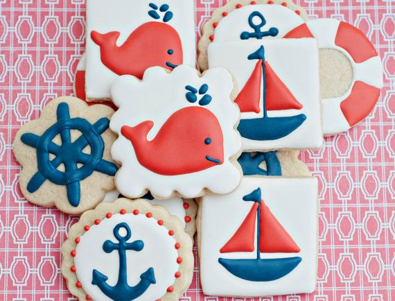 Nautical+Themed+Sugar+Cookies+12+by+SugarbeeGoodies+on+Etsy,+$38.00