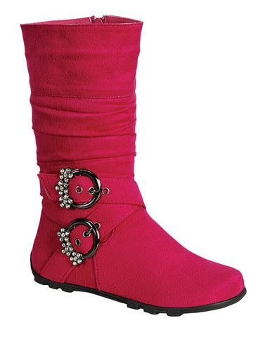 QQ Girl Bella Rhinestone Buckle Boot in Fuchsia
