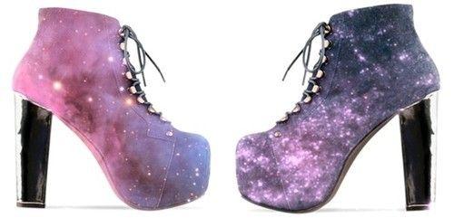 stövlar, mode, galax, klackar, höga klackar, skor, utrymme, stjärnor