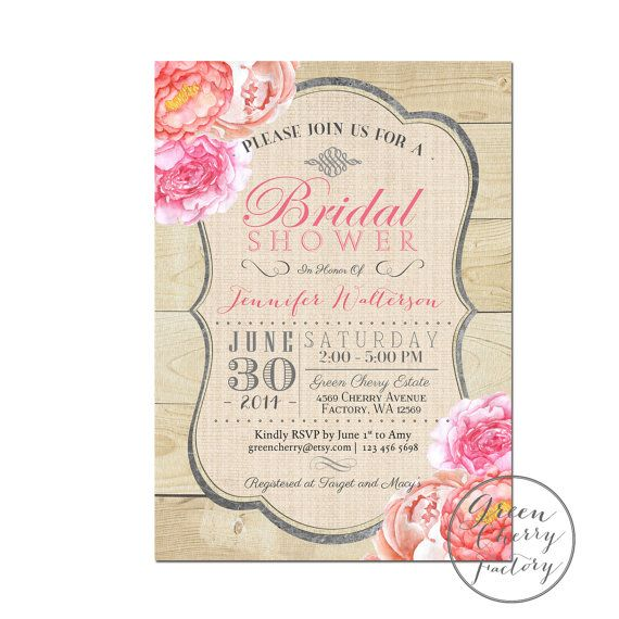 Rustic Bridal Shower Invitation  ANY by GreenCherryFactory on Etsy, $18.00