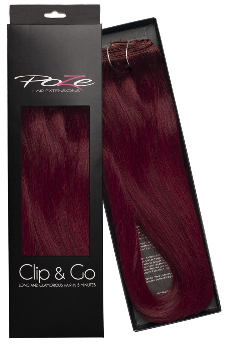 """Here is the beautiful color 5RV Red Passion from Poze Hair Extensions! A deep red color that gives you that """"WOW-Look""""  Get it today and order your new Clip & Go Extensions from www.pozehair.se"""