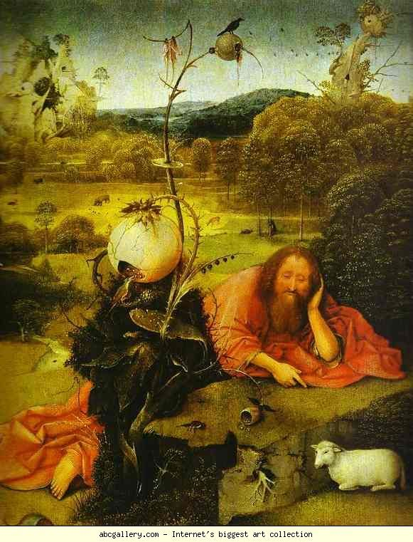 Hieronymus Bosch. St. John the Baptist. Olga's Gallery - St. John the Baptist. . Oil on panel. Museo Lázaro Galdiano, Madrid, Spain. Read Note: