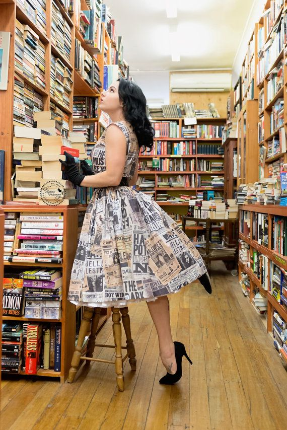 50's style Wizard Headlines Print Cotton Dress, Harry Potter, Golden Snitch…