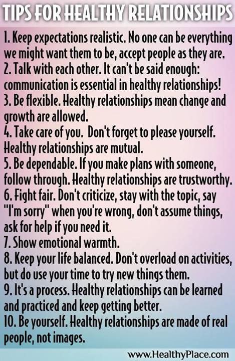 Tips for Healthy Relationships, Luckily my relationship are all these things and more already :)