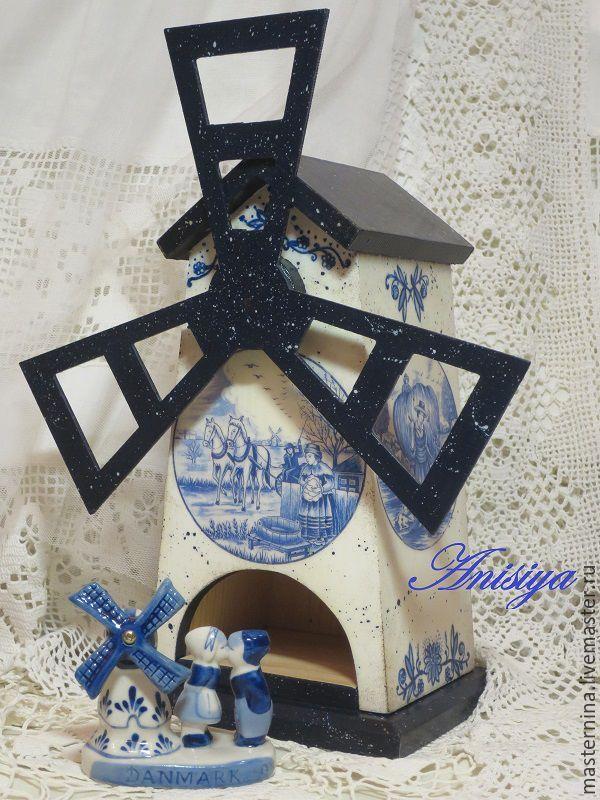 """Купить """"Делфтский фарфор"""" Чайный домик-мельница - белый, гжель, бело-голубой, голландия, Делфт"""