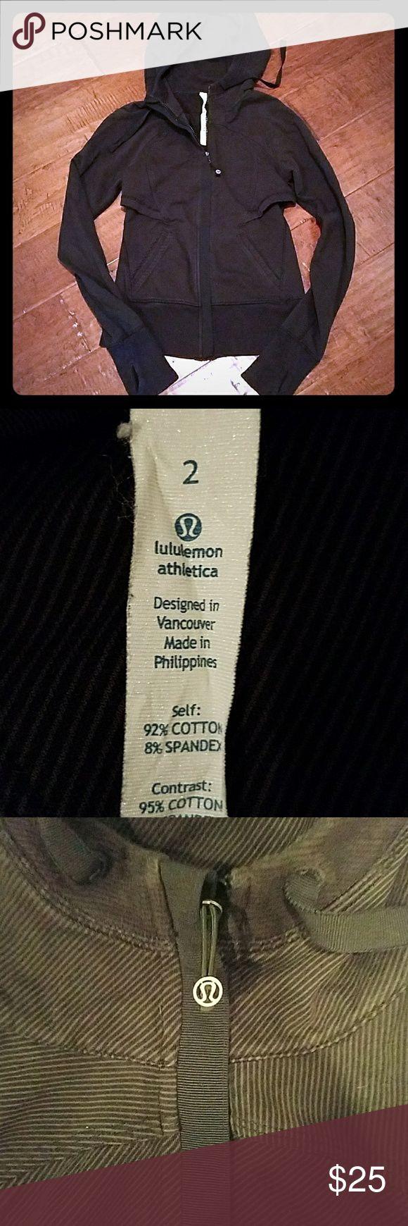 Lululemon zip up hoodie Black and grey stripe zip up. lululemon athletica Tops Sweatshirts & Hoodies