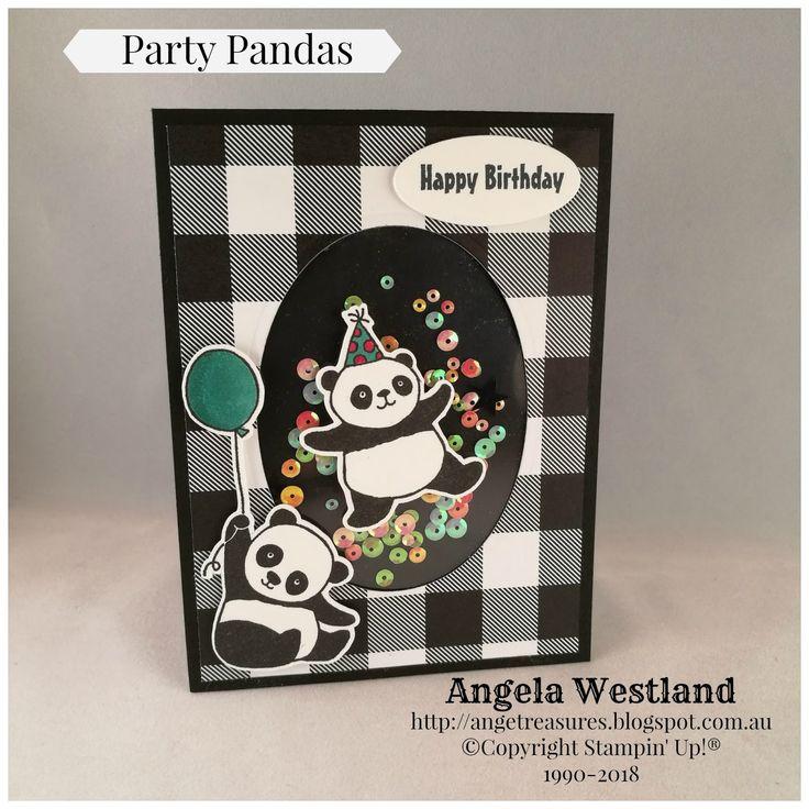 #partypandas #salabrations2018 #shakercard #handmadecards #birthday #blends #angelawestland