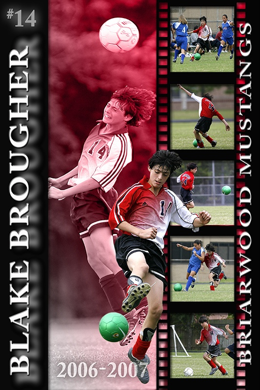 senior photo collage templates - soccer collage poster scrapping sport poster